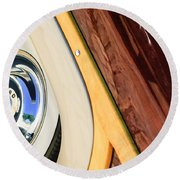 1950 Ford Custom Deluxe Woodie Station Wagon Wheel Round Beach Towel by Jill Reger