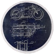 1950 Motorcycle Patent Drawing Blue Round Beach Towel