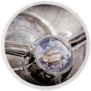 1950 Oldsmobile Rocket 88 Steering Wheel Emblem Round Beach Towel