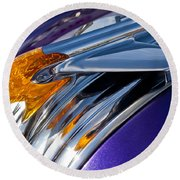 1950 Pontiac Hood Ornament Round Beach Towel