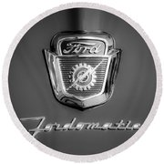 1950's Ford F-100 Fordomatic Pickup Truck Hood Emblems Round Beach Towel