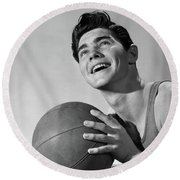 1950s Smiling Boy Holding Basketball Round Beach Towel