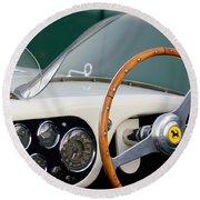 1953 Ferrari 340 Mm Lemans  Spyder Steering Wheel Emblem Round Beach Towel