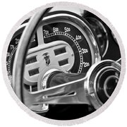 1953 Fiat 8v Ghia Supersonic Steering Wheel Round Beach Towel