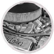 1953 Studebaker Champion Starliner Engine Round Beach Towel