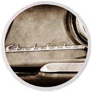 1953 Studebaker Champion Starliner Side Emblem Round Beach Towel