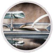 1954 Chevrolet Corvette Rearview Mirror Round Beach Towel