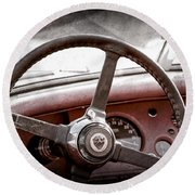 1954 Jaguar Xk120 Roadster Steering Wheel Emblem Round Beach Towel