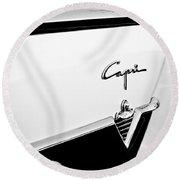 1954 Lincoln Capri Convertible Emblem Round Beach Towel