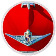 1954 Lincoln Capri Hood Ornament Round Beach Towel