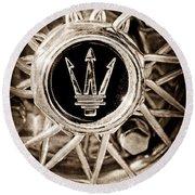 1954 Maserati A6 Gcs Wheel Rim Emblem Round Beach Towel