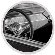 1955 Chevrolet 210 Steering Wheel Round Beach Towel