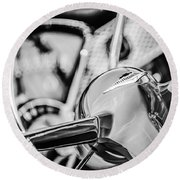 1955 Chevrolet Bel Air Convertible Steering Wheel Emblem -0976bw Round Beach Towel