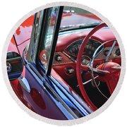 1955 Chevrolet Belair Steering Wheel Round Beach Towel