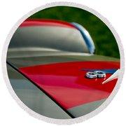 1955 Fiat 8v Zagato Hood Emblem Round Beach Towel