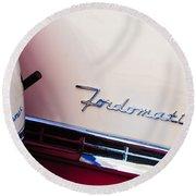 1955 Ford Crown Victoria Fordomatic Emblem Round Beach Towel