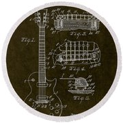 1955 Gibson Les Paul Patent Drawing Round Beach Towel