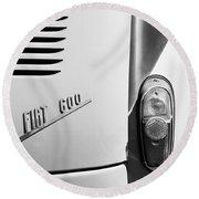 1956 Fiat 600 Taillight Emblem Round Beach Towel