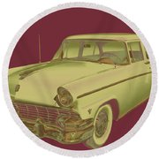 1956 Ford Custom Line Antique Car Pop Art Round Beach Towel