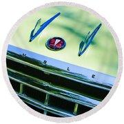 1956 Hudson Rambler Station Wagon Grille Emblem - Hood Ornament Round Beach Towel