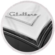 1957 Buick Custom Station Wagon Caballera Emblem Round Beach Towel by Jill Reger