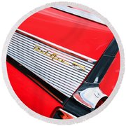 1957 Chevrolet Belair Convertible Taillight Emblem Round Beach Towel
