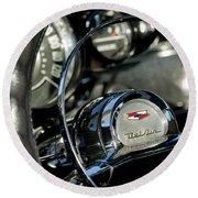 1957 Chevrolet Belair Steering Wheel Round Beach Towel