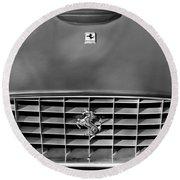 1957 Ferrari 410 Superamerica Coupe Grille Emblem Round Beach Towel