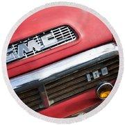 1957 Gmc V8 Pickup Truck Grille Emblem Round Beach Towel