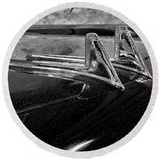 1957 Lincoln Capri Hood Ornament Round Beach Towel