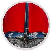 1958 Chevrolet Corvette Headlights Round Beach Towel
