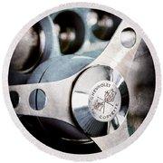 1958 Chevrolet Corvette Steering Wheel Emblem Round Beach Towel
