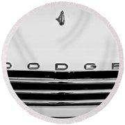 1958 Dodge Sweptside Truck Grille Round Beach Towel