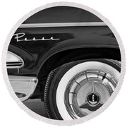 1958 Edsel Pacer Wheel Emblem Round Beach Towel