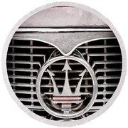 1958 Maserati Hood - Grille Emblem Round Beach Towel