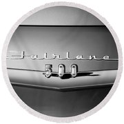 1959 Ford Fairlane 500 Emblem Round Beach Towel