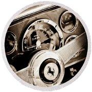 1960 Ferrari 250 Gt Cabriolet Pininfarina Series II Steering Wheel Emblem Round Beach Towel by Jill Reger