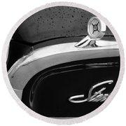1960 Ford Galaxie Starliner Hood Ornament - Emblem Round Beach Towel by Jill Reger