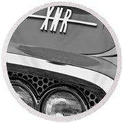 1960 Plymouth Xnr Ghia Roadster Grille Emblem Round Beach Towel by Jill Reger
