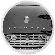 1960 Triumph Tr 3 Grille Emblems Round Beach Towel