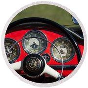 1961 Alfa-romeo Giulietta Spider Steering Wheel Emblem Round Beach Towel