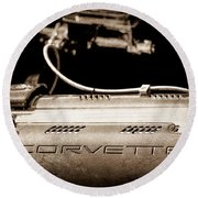 1961 Chevrolet Corvette Engine Round Beach Towel