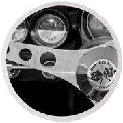 1962 Chevrolet Corvette Convertible Steering Wheel Round Beach Towel