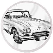 1962 Chevrolet Corvette Illustration Round Beach Towel