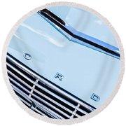 1963 Ford Falcon Futura Convertible Hood Emblem Round Beach Towel