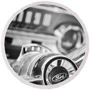 1963 Ford Falcon Futura Convertible Steering Wheel Emblem Round Beach Towel