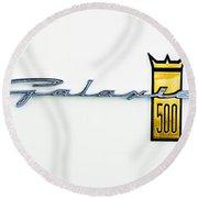 1963 Ford Galaxie 500 R-code Factory Lightweight Emblem Round Beach Towel