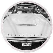 1964 Ford Thunderbird Painted Bw  Round Beach Towel