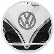 1966 Volkswagen Vw 21 Window Microbus Emblem Round Beach Towel