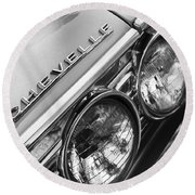 1967 Chevrolet Chevelle Malibu Head Light Emblem Round Beach Towel